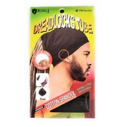 Bandeau tube noir extensible pour dreadlocks