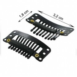 Clips noirs pour extensions - tissages (lot de 24 clips)