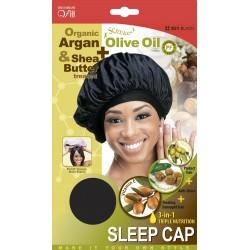 Bonnet de nuit large noir en satin traité aux huiles