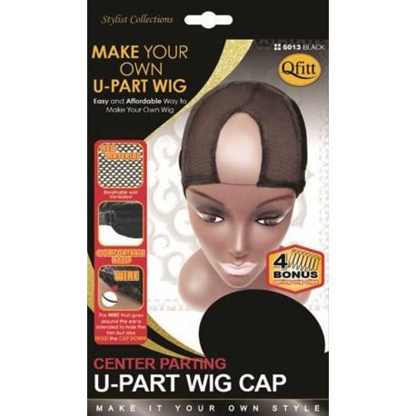 Bonnet pour perruque - U part wig - raie au milieu avec bonus de 4 mini-peignes !